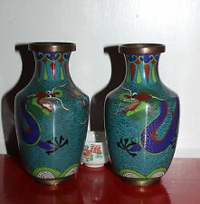 A Mirror Pair of 2 Chinese Dragons Chasing Flaming Pearl Cloisonne Vases A/F