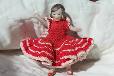 1900-20s Antique GERMAN DOLLHOUSE DOLL 3 and 1/4  INCHES! Orig CROCHETED DRESS