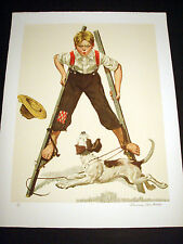 """Norman Rockwell Original Lithograph Hand Signed """"Boy on Stilts"""" 3/200"""