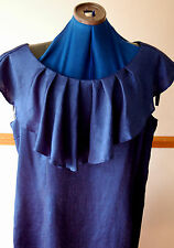 NEW Sz 22 Blue Crinkle wiggle pencil Dress Large frill collar/sleeve Floaty Soft