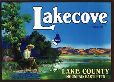 PEAR CRATE LABEL LAKECOVE FINLEY FISHING SCENE LAKE COUNTY VINTAGE BASS POLE