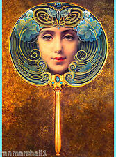 Face of Girl in the Mirror Vintage French Nouveau France Poster Advertisement