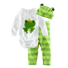 3PCS Hat Romper Pants Trouser Outfits Baby Grow Infant Boy Girl Kids Clothes Set