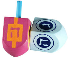 Set of 2 Hanukkah DREIDELS . . . .  Coloured Wooden hanukka draydels kids adults
