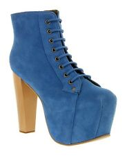 "Jeffrey Campbell UK 3 Lita Electric Blue Suede 5"" High Heel New Platform Boots"
