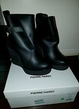 PIERRE HARDY Black Leather Platform Wedge Ankle High Boots Sz 40  fits 8.5-9 NEW