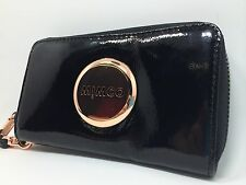 Mimco Zip Tech Purse Iphone5'6'galaxy4'5' Purse Case Patent Black Rose Gold