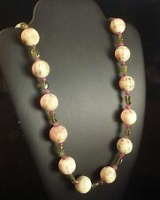 Rare Design Chinese Vintage Painted Bone Beads Accents Peridots Rubies Necklace
