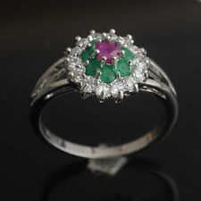 Red Ruby Emerald 925 Sterling Silver Engagement Gemstone Ring Size 8# J498