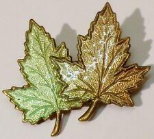 broche bijou vintage 2 feuilles érable émail de couleur* 2274