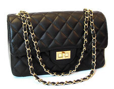 Made in Italy REAL LEATHER  Handbag Quilted Shoulderbag black Flap Chain XL 27cm