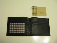 NWT BOCONI Slimfold Black leather Wallet with Navy & Burgundy