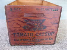 Antique Box Crate CALIFORNIA HOME TOMATO CATSUP Vintage Primitive Wood Shipping