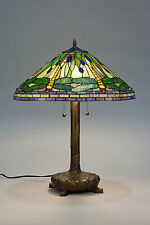 "Tiffany Style Stained Cut Glass Green Dragonfly Table Lamp 20"" Shade"