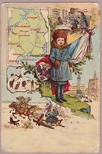 Rare Antique Postcard - Russia - Map, Flag,  Folklore, Montage Of Scenes