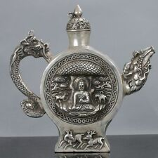 Old Chinese Tibet Silver Handwork Buddha Motif Teapot W Xuande Mark gd0990