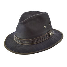 STETSON ** BROWN CANVAS SAFARI HAT * L XL * NEW MENS RAIN SHADY WEATHERED FEDORA