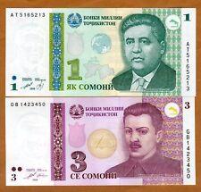 SET Tajikistan, 1-3 Somoni, 1999-2010, Ex-USSR, P-14-20, UNC