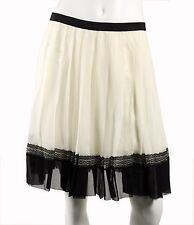 DIOR Spring 2012 Ivory Chiffon & Black Lace Grosgrain Trim Pleated Skirt 42