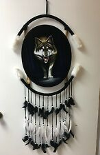 """WALKING WOLF OVAL VELVET PAINTING , 44"""" BY 21"""" , HAND PAINTED MANDALA , SIGNED"""