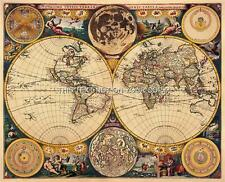 Double Hemisphere Reproduction Antique Vintage Old Colour John Seller World Map