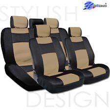 NEW UNIVERSAL SIZE MESH AND SYNTHETIC LEATHER CAR SEAT COVERS COMPLETE SET TAN