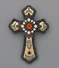 BROWN CROSS RHINESTONE WESTERN JEWELRY NECKLACE PENDANT