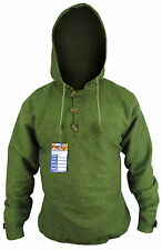 Cotton Fleece Lined Warm 3 Button Hooded Winter Nepalese Pullover Sweater Jumper