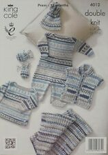KNITTING PATTERN Baby Long Sleeve Jumper and Bobble Hat DK King Cole 4012