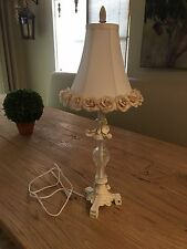 Very cute Shabby Chic style table lamp with ivory flower shade 28""