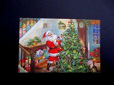 Vintage Unused Xmas Greeting Card Children Watching Santa Decorate Tree