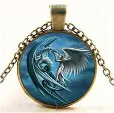 Vintage A Dragon And Angel Cabochon Glass Bronze Chain Pendant  Necklace