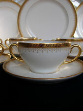 BAWO & DOTTER/ELITE WORKS- GREEK KEY-FILIGREE (c.1896+) SOUP CUP & SAUCER(s)  !!