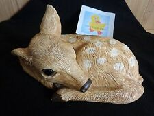 "FAWN DEER Figurine Statue 9"" Spotted Whitetail Laying Down Handmade Ceramic"