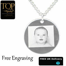 Personalised Engraved Photo Name Necklace Jewellery Silver Plated Disc Gift UK