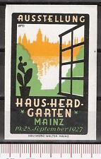 Vignette Ausstellung Haus Herd Garten Mainz 1927 ** Reklame Werbung