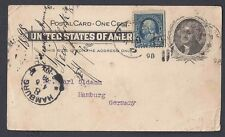 1898 POSTAL CARD UX14 TO HAMBURG GERMANY W/Ic BLUE FRANKLIN
