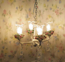 Dollhouse Miniature White Shabby Chic Pink Roses Crystal 4 Arm Tulip Chandelier