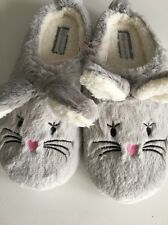Ladies Grey Bunny Rabbit  Slip On Mule Style Slippers Size 3-4 Easter Gift