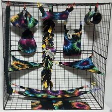 Tie Dye Exploded Heart * 15 PC Sugar Glider Cage set * Rat * double layer Fleece