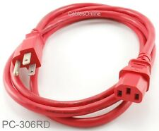 6ft 3-Conductor AC Power Cable, 18AWG, NEMA 5-15P to IEC C13, Red, PC-306RD
