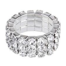 023 Crystal Rhinestone Silver Stretch Ring 3 Row Finger or Napkin~Bridal~NEW