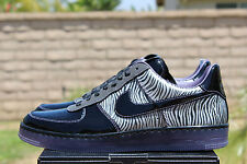 NIKE AIR FORCE 1 DOWNTOWN NRG ZEBRA SZ 9 BLACK SILVER COURT PURPLE  573979 003