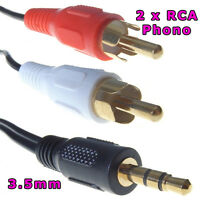 3M 3.5mm Stereo Jack Male to 2x TWIN RCA Phono Male Audio Cable Long Lead Gold