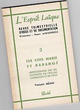 """Les lois Marie et Barangé -F.Méjan  - """"L'Espit Laïque"""" N°3 - Eglise - Etat"""