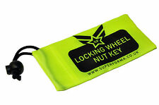 Fluorescent Locking Wheel Nut/Bolt Key Tool Bag Universal - Yellow