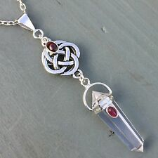 4 elements celtic knot & Discrete Pentagram Clear Quartz Point, Garnet Pendant