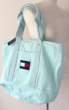 NWT Tommy Hilfiger XL Thick Canvas Travel Beach Tote Aqua Shoulder Bag $98 NEW