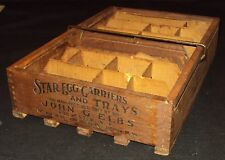 Vintage Star Egg Carrier & Tray Crate Rochester NY 24 Slots 2 Dozen Metal Handle
