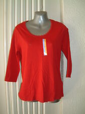 M&S Ladies Red Top size 8/10 New with Label 3/4 sleeves scooped neck